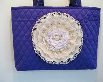 Shoulder Tote Quilted Purple Vintage Doily STBS8-03