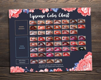 LipSense Color Chart 2018, 50 LipSense Colors, LipSense Senegence, Instant Download, Printable Digital File, Dark Floral, 8.5x11, LIPCC001
