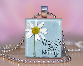 Worlds Best Mommy Scrabble Pendant. Mothers Day Necklace.  Mothers Day Jewelry. Mom Charm Bracelet - Mommy Key Ring. Gift for Mom. #140