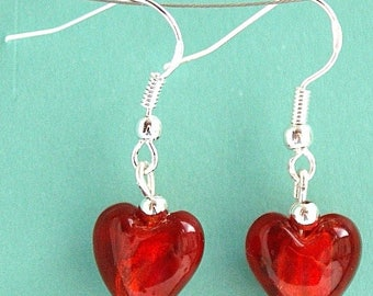 Red Glass Love Heart Earrings with Sterling Silver Hooks New Drops LB11