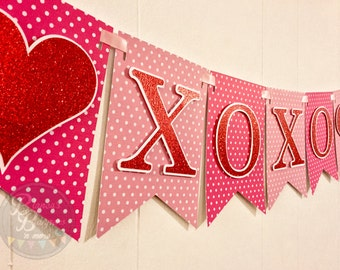 Valentin's Day Polka Dots Glitter Red XOXO Card Stock Banner with Hearts Laced with Pink Satin Ribbon