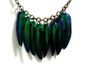 Beetle Elytra Necklace - REAL INSECT WINGS