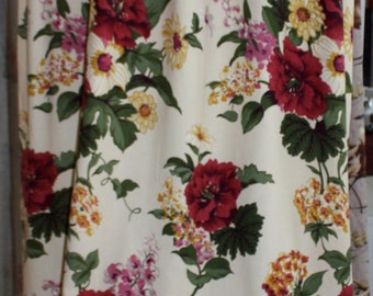 Long Vintage 1940s Curtain Panel// 40s 50s Barkcloth Curtain Panel