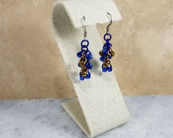 Chainmaille Shaggy Loops Earrings Blue & Bronze Color Beaded