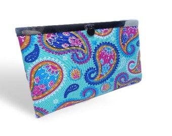 Womens bi-fold wallet, teal purse, Womens slimline purse, Light-weight summer wallet