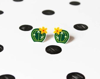 Round cactus earrings