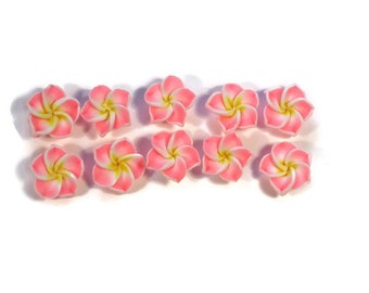 12 mm Polymer Clay Plumeria Flowers Set of 10 (MP2)