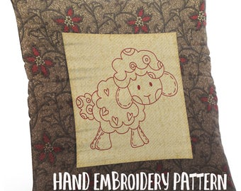 Hand Embroidery Pattern - Redwork Design - Baby Sheep in 4 Sizes - PDF Instant Download - Good for Doodle Drawing