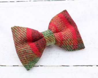 Moss Green & Red Tweed Bow Tie - Deluxe Dog Bow Tie