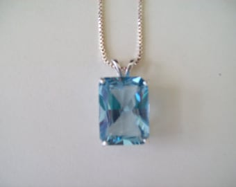 Large Emerald Cut Lab Aquamarine Pendant in Sterling Silver 18x13mm