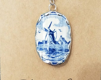 Blue Delft, Broken china jewelry, broken china necklace,  pendant, gift for mom, grandma, mothers day gift, broken china pieces, windmill