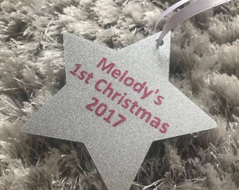 Personalised Christmas Tree Decoration - Baby's 1st Christmas - Silver Glitter Star - Perfect Gift/ Keepsake
