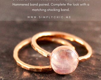 Rainbow Moonstone Stacking Alternative Wedding Engagement Set  - TWO RINGS (Gold Sterling Silver Rose Gold June Birthstone Bridal Party)
