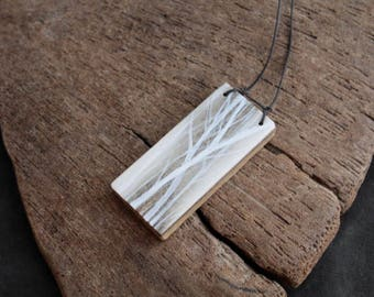 Frost weight willows - Alaska Native hand painted caribou antler pendant