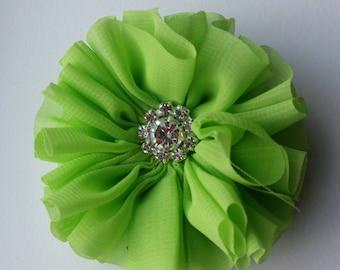 Apple green chiffon flower hair clip, hair clip, pink hair clip, rhinestone detail, girl hair clip, photography prop, flower hair clip