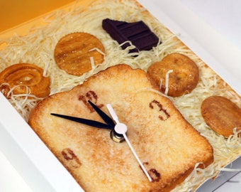 Customized, personalized housewarming gift set-toast table clock and 5 cookie magnets
