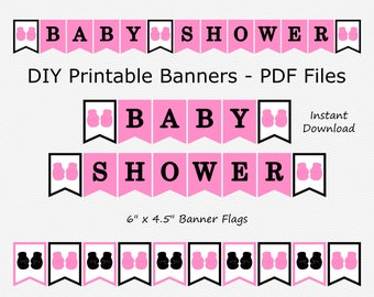 Baby Shower Banner - Medium Pink & Black - Boxing Glove - Girl Baby Shower - PRINTABLE - INSTANT DOWNLOAD