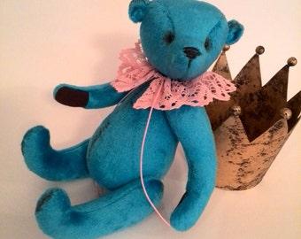 Blue teddy bears Artist teddy Christmas teddy bear Christmas gifts stuffed animal toy bears Bears OOAK Artist teddy bear Collectible toy