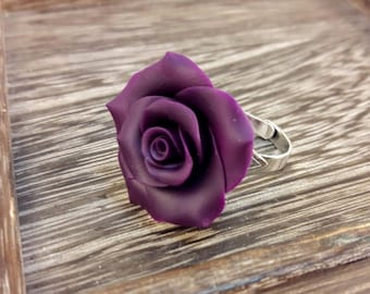 Rose Ring. Dark Purple Rose Ring. Flower Ring. Polymer Clay Ring. Handmade Jewelry. Gift for Her