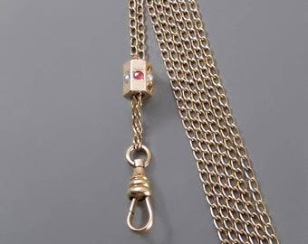 Antique VICTORIAN Watch CHAIN 10K Solid Gold SLIDE Gold Filled Muff Chain Sautoir Guard Necklace Swivel Hook c.1890's, Long Womens Chains