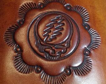 Grateful Dead Biker Wallet Handmade Tooled Veg Tanned Leather *2 Pockets *Brown