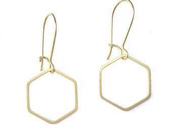 Raw brass hexagons