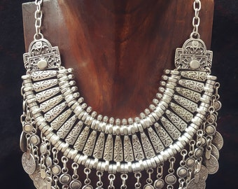 coin ottoman cleopatra necklace décolleté necklace boho chic tribal gypsy jewelry