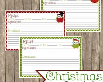 Christmas Owls 4x6 Recipe Cards, Instant Download