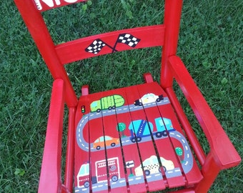 Child Rocking Chair- Kid Rocking Chair- Small Rocker- Automobile Cars and Trucks Theme- Personalized Hand Painted Rocking Chair