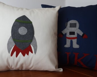 Astronaut pillow cover,Space Nursery decor, Rocket pillow,Space Theme,Astronaut room,Personalized pillow cover,stitched felt,blue,grey,red