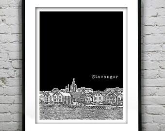 Stavanger Norway Skyline Poster Art Print Version 2