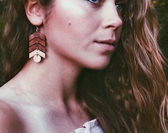 Arrow Earrings Chevron Earrings Feminine Earrings Salvaged Wood Jewelry BALL + ARROW EARRINGS