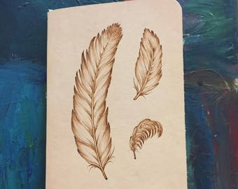 Refillable Leather Journal with Burned Feather Design