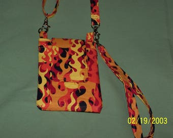 Flame Print Fabric Cell Phone Purse With Shoulder and Wrist Straps