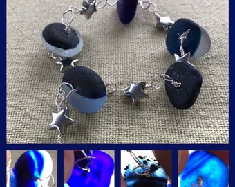 Sterling Silver & Haematite Star English Secret Multi Monochrome Cobalt Blue Black Seaglass Halloween Bracelet - Seaham Sea Glass