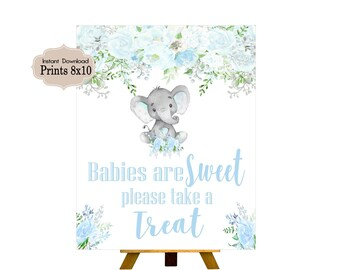 Babies are Sweet Sign, Candy Table Sign, Baby Shower, Birthday Party, Baby Boy, Blue Elephant,Elephant, Flowers, Floral BE101