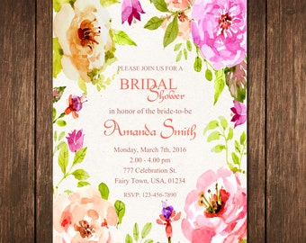 Watercolor Bridal Shower Invitation, Flower Bridal Shower Invitation, Floral Bridal Shower Invitation, Watercolor Flower, Elegant Bridal