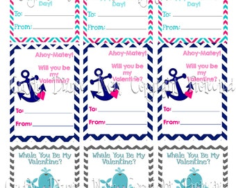 Printable Nautical Kids Valentine's Day Cards. Instant Download