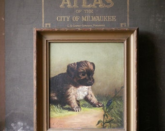 Antique Framed Original Dog Painting - Fluffy Puppy Watching a Beetle - Signed 1892
