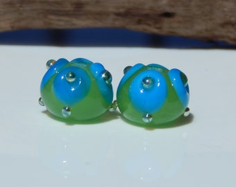 Lampwork Bead Pair Organic Abstract Blue Lime Green Silver Glass Jewelry Making  Earring Beads