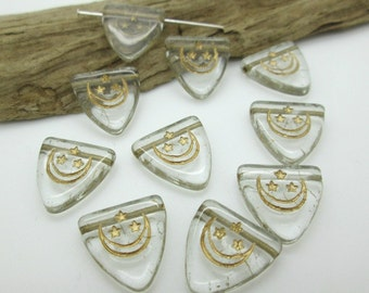 Triangle Tab or Shield Bead or Pendant, Czech Clear Glass with Gold Moon Stars Etching, 17x14, (10)