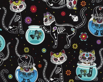 Timeless Treasures - Day of the Dead - Cat - Kitten Fabric - Skeletons - Sold by the Yard