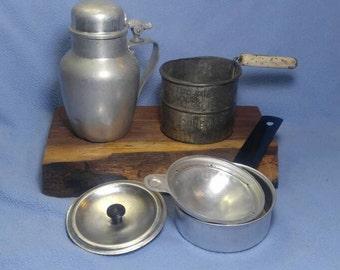Vintage Kitchen Stuff! 3 pc Egg Poacher, Sifter, Aluminum Cream Pitcher