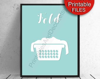 Printable Laundry Art Mint Blue Laundry Room Decor Fold 5x7 8x10 11x14 A4 Printable