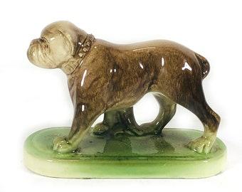 Vintage Ceramic Dog Figurine - Bulldog, Mottled Brown with Green Base