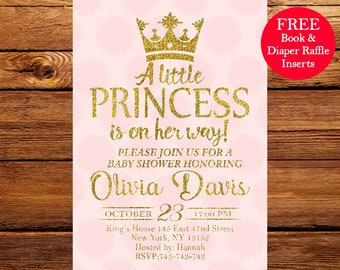 Baby Shower Invitation, Pink and Gold Baby Shower Invitation, Princess Baby Shower Invitation 093
