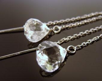 Crystal Quartz 925 Sterling Silver Ear Threads
