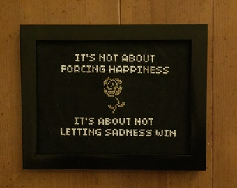 """THE WONDER YEARS """"Local Man Ruins Everything"""" Framed Cross Stitch"""