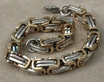 SALE Biker Chain, Stainless Steel, heavy Weight, High Quality, Combination Color, Gold and Silver, Byzantine