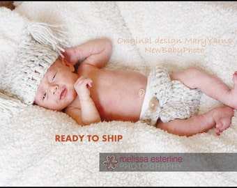 HAT and Diaper Cover Newborn Baby Photo prop in WHEAT - Photography all babies